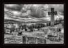 Lower Reservoir (Foulridge_Photography) Tags: sky clouds cemetary lancashire foulridge england pendle pendlehill lake reservoir celticcross blackandwhite monotone leedsandliverpool nikon d5000 sigma