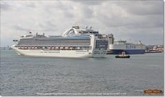 Svitzer Bargate pulls Crown Princess around, Glovis Condor is docked,  Southampton,  June 3rd 2017 b (Bristol RE) Tags: 9701970 9293399 9414876 imo gloviscondor crownprincess svitzerbargate southampton liner cruiseliner tug