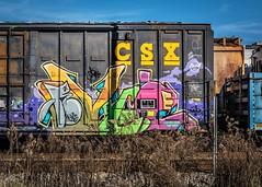 Art on Rails (Sky Noir) Tags: graffiti boxcar csx train car railroad