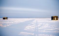 me and my shadow (Mr Kevino) Tags: icefishing nipissing lake ice frozen huts 2017 winter 35mm film fuji provia rdp