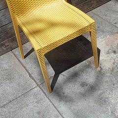 yellow chair and shadows (msdonnalee) Tags: chair chaise silla sedia stuhl yellowchair sidewalk