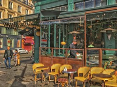 Paris  France ~ Le Brebant ~  Historic Street Scene (Onasill ~ Bill Badzo) Tags: paris france europe downton latin district historic landmark attraction site le brebant cafe restaurant french cheese salad onion soup lemon chicken carafe rose marriott opera hotel phonegraphy iphone hdr texture tones terrace patio wine streetscape scene people watching candid travel tourist onasill apple storefront window quarters