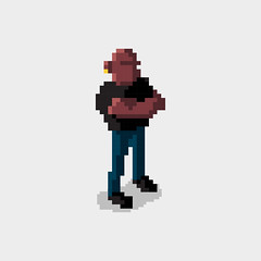 Day 158: Pixel Bouncer (ChrisKoelsch) Tags: pixel bit sprite videogame game 16bit 8bit retro vector digital art character design illustrator illustration bouncer man strong graphic