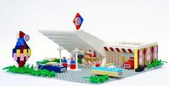 Gabe's Gas & Grease (birgburg) Tags: lego gasstation garage googie architecture midcentury