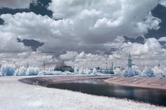 Chernobyl dream (Infra Red) (Sean Hartwell Photography) Tags: infrared ir chernobyl ukraine falsecolour nuclear powerstation reactor4 sarcophagus river radiation radioactive fallout dream dreamlike