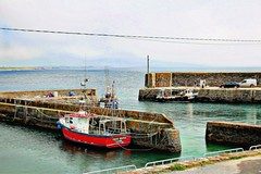 Slade harbour, Co. Wexford (JulieK (thanks for 5 million views)) Tags: 117picturesin2017 sladeharbour fishingboat floating vessel hss sliderssunday seascape wexford maritime sea harbour topazglow canoneos100d ireland irish water