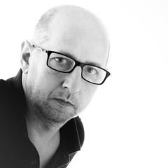 self-portrait (xfoTOkex) Tags: self portrait man black white monochrome bw glasses bald head