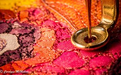 "Machine Quilting on ""Bug Lunch"" (Carolynn McMillan) Tags: macro machinequilting red quilt art fibreart peony"