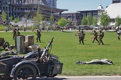 The final push of the battle to an unconditional surrender...Lansdowne 2017. (beyondhue) Tags: reenactment battle german allies military tulipfest ottawa lansdowne park field beyondhue casualty army ww1 period costume explosion battleground act gun