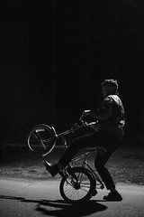 lp & bike (Gustav Norrhäll) Tags: bw black white outdoor low light iso high blur grain hella lit fam night bike old dark