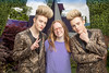 Famous Irish twins Jedward pictured with garden designer Bri-d Conroy launching the Despicable Me 3 show garden at Bloom in the Phoenix Park, Dublin. Bloom runs from 1st