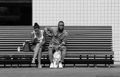Texting & Smokin' (Rick & Bart) Tags: rotterdam thenetherlands city citylife urbanlife rickvink rickbart canon eos70d everydaypeople people streetphotography strangers candid bench schouwburgplein smartphone