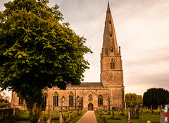 Olney Church (BigRedTroll) Tags: british uk architecture blue building church color gothic green leadinglines nature northamptonshire olney religious sky spire structure tower tree