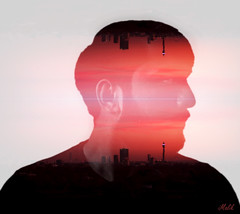 Project 365; #165 (iMalik1) Tags: photo day challenge project 365 days potd london skyline selfie portrait double exposures exposure self red sunset overlay manipulation blending photoshop ealing photographer imalik photography digital art surreal abstract