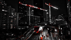 Red isn't dead (Shid0x) Tags: black white blackandwhite color buildings architecture skyscraper skyline cityscape citylight nightscape night lightroom photography paris a6000 art extérieur road tower urban street defense france