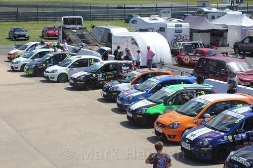 The Fiesta Junior championship cars ready to race at Rockingham, June 2017
