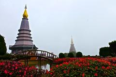 By the Strength of Land and Air (JeffGuth) Tags: chedi chaing mai chaingmai doi inthanon dosinthanon bridge pagoda thailand southeastasia asia seasia flower bhumibol