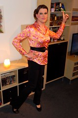 Saturday night fever (Rikky_Satin) Tags: satin silk blouse pants pumps leather belt pattern 70´s crossdresser transvestite transgender tranny tv cd sissy