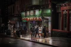 Grant Place (karinavera) Tags: travel sonya7r2 market people rainy street sanfrancisco night grant cinematicphotography
