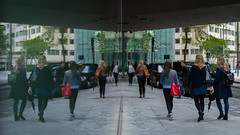 Off To Work - Explored (Sean Batten) Tags: london england unitedkingdom gb streetphotography street reflection women people glass window city urban nikon df 58mm southwark