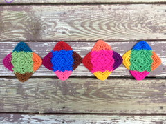 Four center crochet squares with the ends woven in (crochetbug13) Tags: crochet crocheted crocheting crochetsquares crochetblanket crochetafghan crochetthrow texturedcrochetsquares texturedcrochet