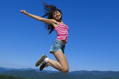 Jump over mountains (ChrisandMei) Tags: mei chinese asian girl femme fille 女孩 女人 mujer niña женщина jumping 20040807186 woman feminine wife pretty attractive sweet cute beauty lovely amateur gorgeous beautiful glamour hair shoes denim shorts jump smile smiling mountains lady armpit