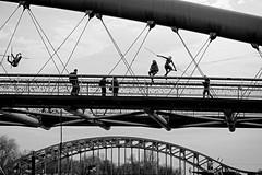 Kładka Ojca Bernatka - Footbridge of Father Bernatek - Kraków (petrwag) Tags: krakow street sel1670z sony bw blackandwhite blancoynegro blackwhite černobílé clickcamera carlzeiss noiretblanc noirblanc