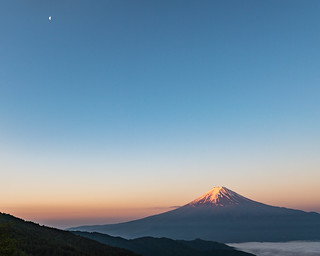 Morning Fuji and moon