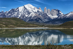 Mirroring lake (marko.erman) Tags: torresdelpaine nationalpark patagonia chile granite peaks mountains glacier lake mirror mirroring sony nature sunny outside pov view travel beautiful towers landscape magellanes reflections blue