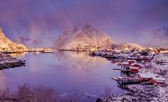 Earth Smiled IV   Reine, Lofoten, Norway (v on life) Tags: reine lofoten norway morning dawn bluehour reflections mountains peaks village sunrise fishingvillage rorbuer olstind snow winter light clouds