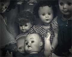 Freaky Dolls (1withone) Tags: dolssdyke photoart surreal freaky off disturbing unusual collection antique old faces dollfaces hair