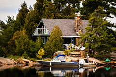 Little Cottage on the Lake (Brady Baker) Tags: ontario canada pary sound muskoka cottage summer getaway peaceful home house serene forest granite island boat dock chimney quaint nature outdoor green freedom retreat weekend