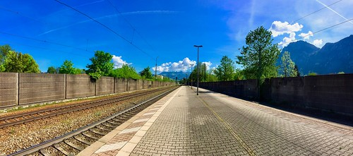 Panorama view of Kiefersfelden train station, Bavaria, Germany