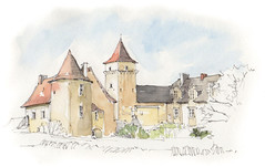 Couanac, Varaire, Lot, France (Linda Vanysacker - Van den Mooter) Tags: watercolour visiblytalented vanysacker vandenmooter tekening sketch schets potlood pencil lindavanysackervandenmooter lindavandenmooter drawing dessin croquis crayon art aquarelle aquarell aquarel akvarell acuarela acquerello kasteel château castle manoir frankrijk france varaire lot couanac