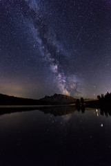 Milky Way over Two Jack Lake (Saptashaw Chakraborty) Tags: canada alberta canon 6d rokinon 1428 banff banffnationalpark twojacklake landscape night nightscape astrophotography milkyway mountain mountains reflection reflections lake rundle mtrundle mountrundle