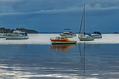 A Touch of Colour (Sterling67) Tags: predawn sunrise outdoor outside 2470 water reflections lakemacquarie wangi boats yachts clouds stormy skies