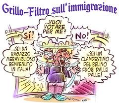 """GrilloFiltro (Moise-Creativo Galattico) Tags: editoriali moise moiseditoriali """"editorialiafumetti"""" giornalismo attualità satira vignette grillo razzismo"""