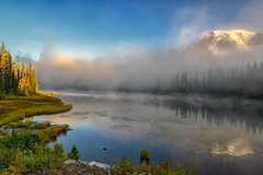 Misty Morn (Philip Kuntz) Tags: mtrainier mtrainiernationalpark reflectionlake reflections sunrise sunup dawn daybreak washington