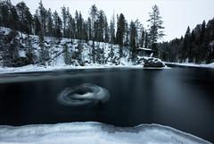 Giro (el_farero) Tags: giro oulanka finland river black landscape forest cabin ice snow movement winter