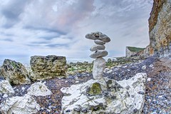 Charmer (pauldunn52) Tags: sleaford head beach stones chalk cliffs balance pink sunset