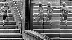 4 Boys (laga2001) Tags: black white bnw bw monochrome boy kids people street reflection mirror glas