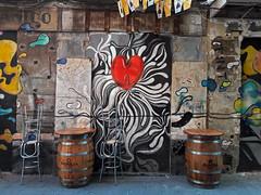 streets of cartagena (maximorgana) Tags: stool barrel cartagena streetsofcartagena trashbit callecuatrosantos heart dirty wall graffiti street art star
