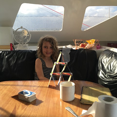 The person who insists on trying to build card towers as we sail.
