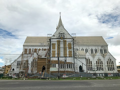 St. George's Cathedral Repairs #1 (*Amanda Richards) Tags: stgeorgescathedral cathedral guyana georgetown iphone7 repairs work menatwork greenheart lapedge shiplap tallestwoodenbuilding scaffolding hardhats gothic historic woodenbuilding