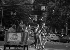 PDX Gladiators (RaminN) Tags: crosswalk crossing sword downtown street oregon portland pedicab pdx