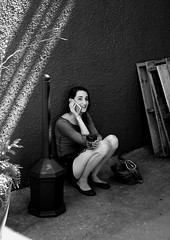Coffee Break (Hanna) (photo_secessionist) Tags: coffee cafe coffeeshop barrista people portrait informal street woman pentax pentaxprogrampluss pentaxaf1750mmlens film 35mm blackwhite bw bn self developed kodak d76 trix grain fredericksburg virginia
