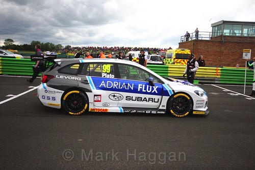 Jason Plato on the BTCC grid at Croft, June 2017