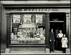 The Grocery of Xavier J. Covfefe (Studio d'Xavier) Tags: werehere covfefe xavierjcovfefe oldphotograph vintagephotograph 365 june192017 170365 grocer grocerystore confectioneer familyportrait sepia bw