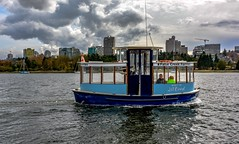 Little blue ferry (Christie : Colour & Light Collection) Tags: falsecreek waterfront vancouver bc canada scenic ferry ferries falsecreekferries skyline buildings sky clouds moody overcast cloudy
