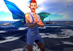Well hello there (Niki Wirefly) Tags: fae fairy fairey faerie male fantasy landscape sea beach colour secondlife wings niki sl